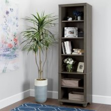 Narrow 6-Shelf Bookcase - Gray Maple