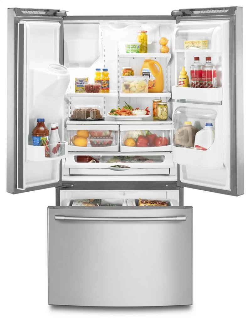 Mfi2269frz in fingerprint resistant stainless steel by maytag in hidden additional 33 inch wide french door refrigerator with beverage chiller compartment 22 cu rubansaba