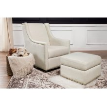 White Linen Harper Swivel Glider with Gliding Ottoman