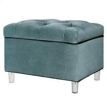 Pandora KD Fabric Storage Ottoman Acrylic Legs, Emerald
