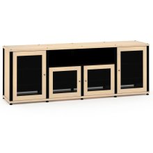 Synergy Solution 345, Quad-Width AV Cabinet, Maple with Black Posts