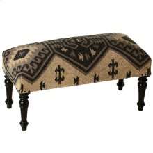 Black & Tan Kilim Upholstered Bench.