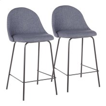 Lana Counter Stool - Set Of 2 - Black Metal, Blue Fabric