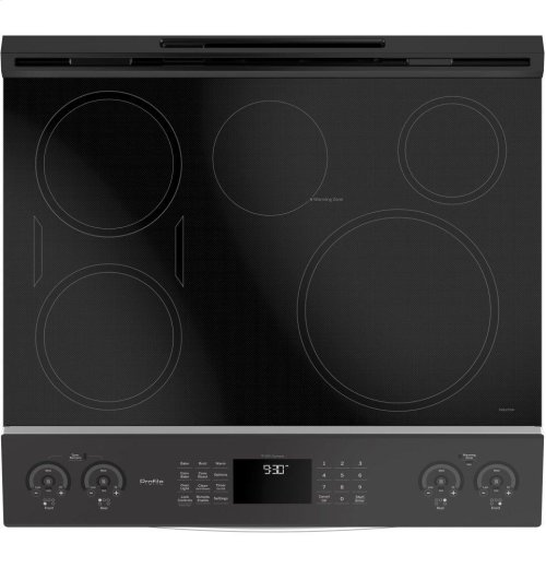 """GE Profile™ Series 30"""" Slide-In Front Control Induction and Convection Range"""