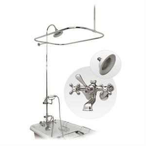 Maidstone Clawfoot Tub Wall Mount Shower Enclosure With Faucet And  Handshower Kit, Chrome, Sunflower Hidden