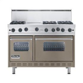"Stone Gray 48"" Open Burner Commercial Depth Range - VGRC (48"" wide, six burners 12"" wide griddle/simmer plate)"