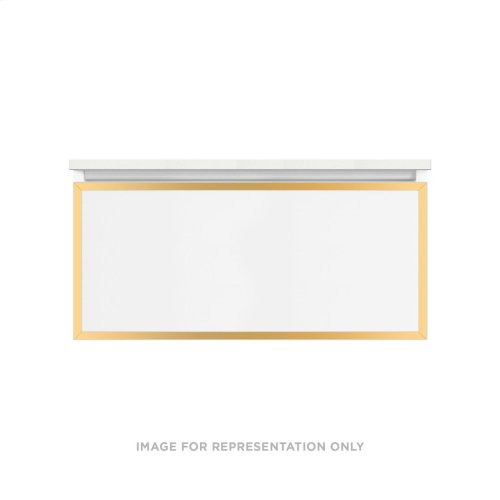 """Profiles 36-1/8"""" X 15"""" X 18-3/4"""" Framed Single Drawer Vanity In Satin White With Matte Gold Finish and Slow-close Full Drawer"""