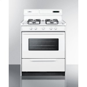 """Summit30"""" Wide Gas Range In White With Sealed Burners, Digital Clock/timer, Oven Window, Interior Light, and Spark Ignition"""