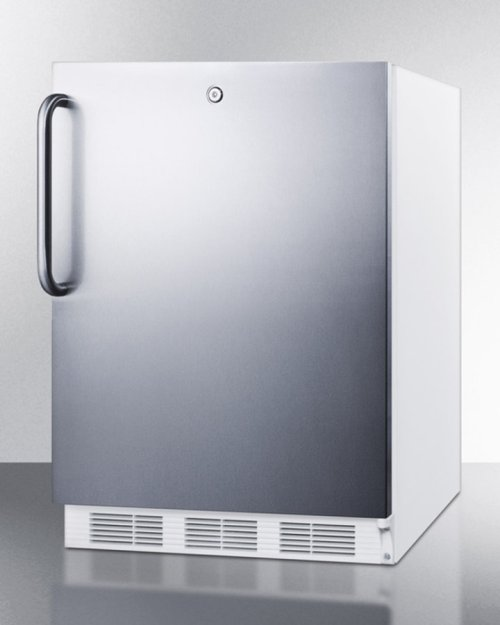 ADA Compliant All-refrigerator for Freestanding General Purpose Use, Auto Defrost W/lock, Ss Door, Towel Bar Handle, and White Cabinet