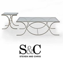Glass SILVER End Table