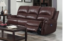 EM1193 Collection - Dual Reclining Sofa with Power Headrest  USB  Cognac Brown