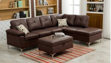 Macy Chocolate Brown Sectional with Storage Ottoman