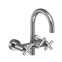 Tub mixer for wall-mounted installation - chrome