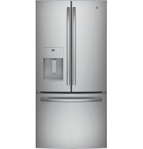 GE 4pc. Stainless Steel kitchen package with 23.8 cu.ft. full depth dispensing French door fridge and slide-in front control convection gas range