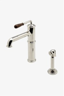 Canteen One Hole High Profile Kitchen Faucet with Oak Lever Handle and Spray STYLE: CEKM10