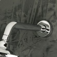 "Wall-mount round shower arm with flange.D: 6"" H: 2 1/4"""