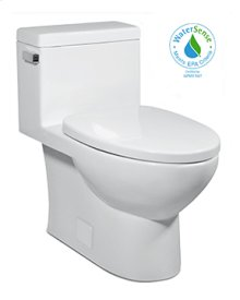 White VISTA II One-Piece Toilet 1.28gpf, Compact Elongated with Venetian Bronze Metal Finish