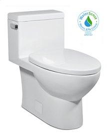White VISTA II One-Piece Toilet 1.28gpf, Compact Elongated with White Enamel Metal Finish