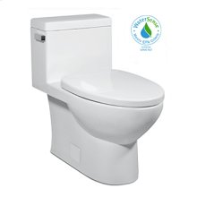 White VISTA II One-Piece Toilet 1.28gpf, Compact Elongated with Satin Nickel Metal Finish