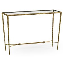 Hammered Light Brown Brass Rectangular Console