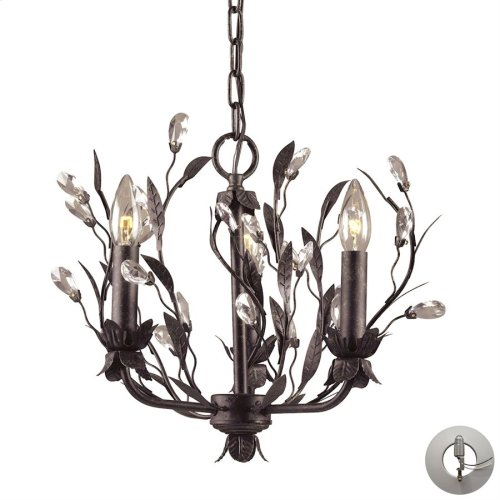 Circeo 3-Light Chandelier in Deep Rust with Crystal - Includes Adapter Kit