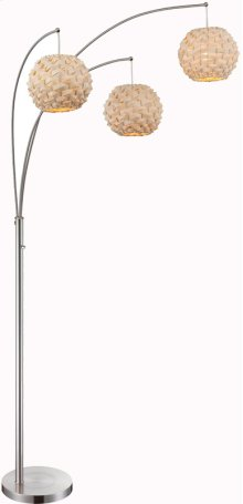 3-lite Arch Lamp, Ps/nat. Finish Bamboo Shade,type A 60wx3