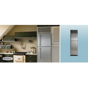 "24"" Refrigerator with Top Freezer - 24"" Marvel Refrigerator with Top Freezer - White Interior, Stainless Steel Door, Left Hinge"