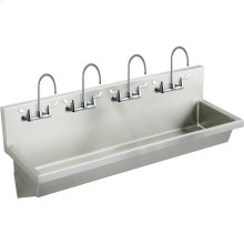 """Elkay Stainless Steel 96"""" x 20"""" x 8"""", Wall Hung Multiple Station Hand Wash Sink Kit"""