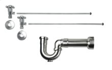 """Lavatory Supply Kit w/ Massachusetts P-Trap - Angle - Cross Handle - 1/2"""" Compression (5/8"""" O.D.) Inlet x 3/8"""" O.D. Compression Outlet - Antique Brass"""