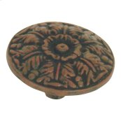 Hammered Medallion Knob 1 1/2 Inch - Rust
