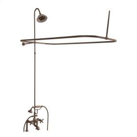 Tub/Shower Converto Unit - Elephant Spout, Shower Ring, Riser, Showerhead, Cross Handles - Polished Chrome