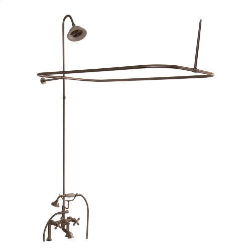Tub/Shower Converto Unit - Elephant Spout, Shower Ring, Riser, Showerhead, Cross Handles - Polished Brass