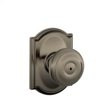 Georgian Knob with Camelot trim Bed & Bath Lock - Antique Pewter