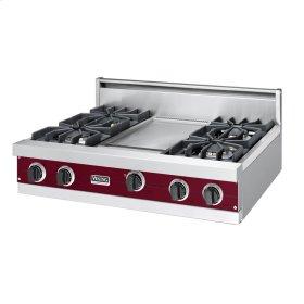 """Burgundy 36"""" Sealed Burner Rangetop - VGRT (36"""" wide, four burners 12"""" wide griddle/simmer plate)"""