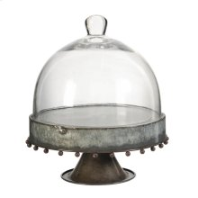 34296  Plate Wth Glass Dome