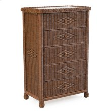 Wicker 5 Drawer Chest Coffee Bean 3705