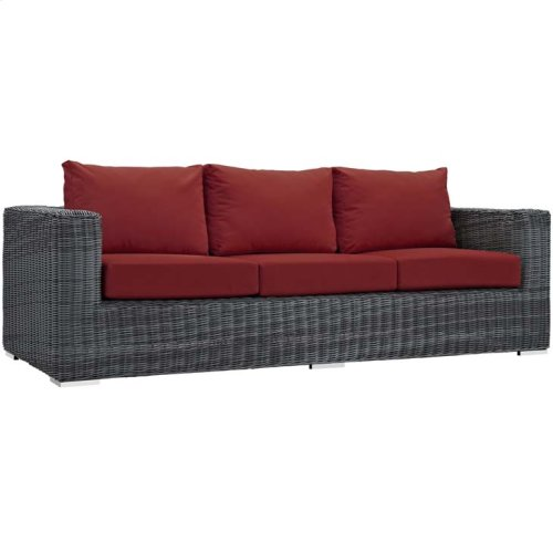 Summon 9 Piece Outdoor Patio Sunbrella® Sectional Set in Canvas Red