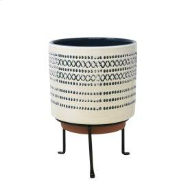"Ceramic 9.5"" Planter On Standblue Stripe"