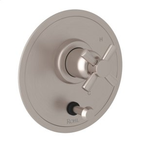 Satin Nickel Perrin & Rowe Holborn Pressure Balance Trim with Diverter with Cross Handle