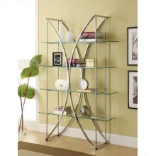 Contemporary Chrome and Glass Bookcase