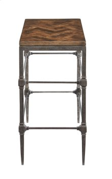 Everett Chairside Table with Wood Top and Metal Base
