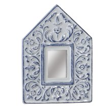 White & Blue Wash Enamel Embossed Scroll Accent Mirror.