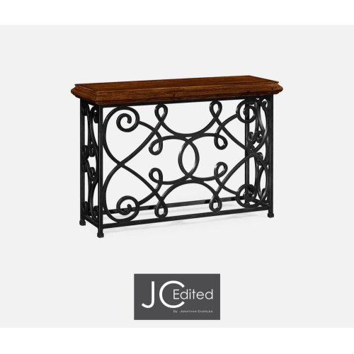 "54"" Width Rectangular Rustic Walnut Console with Wrought Iron Base"