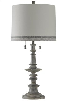 Washed Gray Traditional Table Lamp Designer Drum Shade with Contrast Trim