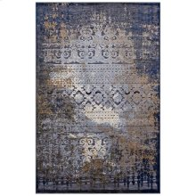 Kalene Distressed Vintage Turkish 5X8 Area Rug in Blue, Rust and Cream