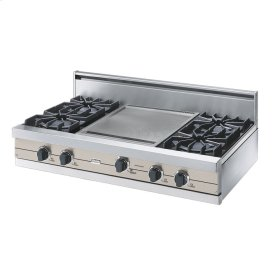 "Oyster Gray 42"" Open Burner Rangetop - VGRT (42"" wide, four burners 18"" wide griddle/simmer plate)"