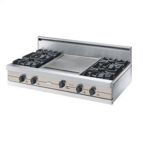"Oyster Gray 42"" Open Burner Rangetop - VGRT (42"" wide, four burners 18"" wide griddle/simmer plate)"