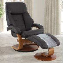 Espresso (Brown) Top Grain Leather with Walnut Finish - Reclines - Swivels - Lumbar Support - Quality Top Grain Leather - Pillow Top Back Cushion