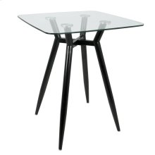 Clara Square Counter Table - Black Metal, Clear Glass