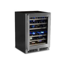 """FLOOR MODEL 24"""" High Efficiency Dual Zone Wine Cellar - Stainless Frame, Glass Door With Lock - Integrated Right Hinge"""